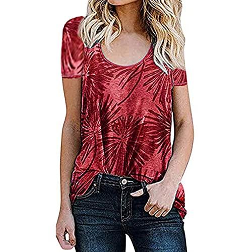 Camiseta De Manga Corta con Cuello Redondo Y Estampado Suelto para Mujer