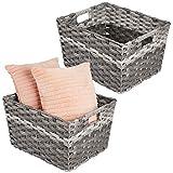 mDesign Juego de 2 cestas de almacenaje rectangulares con Asas – Prácticos...