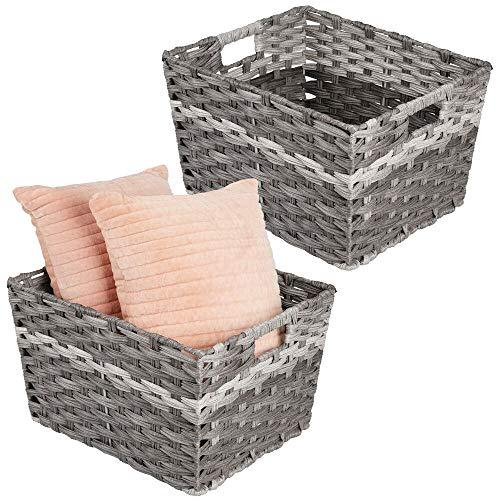 mDesign Juego de 2 cestas de almacenaje rectangulares con Asas – Prácticos canastos para baño, Dormitorio o salón – Modernas Cajas de ordenación Trenzadas de Fibra sintética – Gris