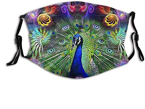 Magnificent Flying Peacock Face Mask Unisex Balaclava Mouth Cover with Filter Windproof Dustproof Adjustable Mask-Peacock Visions
