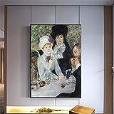 WCLGDJ Pintura de OLI El Final del Desayuno, decoración del hogar, Cuadros artísticos de Pared, póster Impreso, Pinturas en Lienzo 30x40cm Sin Marco