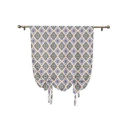 Cortina geométrica pequeña para ventana, azulejo arte con elementos florales y rayas geométricas, cortina opaca con aislamiento térmico, 76 x 107 cm, para ventanas del hogar, multicolor