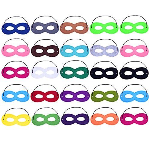 Sunmns 25 piezas héroe Cosplay media fiesta máscara de ojos de fieltro con cuerda elástica, multicolor