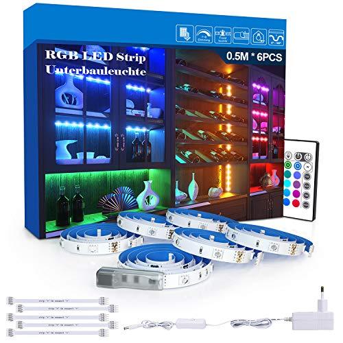 RGB LED Unterbauleuchte, 6 PCS x 50cm LED Strip Schrankleuchte Set, Farbwechsel Led Strip mit Fernbedienung und Netzteil DIY Licht, Schrank, Schreibtisch, Fernseher, Led Streifen Beleuchtung,MEHRWEG