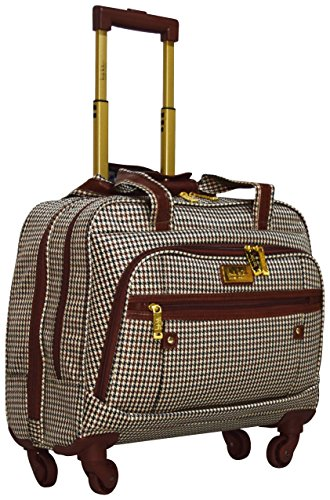 Nicole Miller New York Designer 17 Inch Carry On - Weekender Overnight Business Travel Luggage - Lightweight 4- Spinner Wheels Suitcase - Briefcase Rolling Bag for Women (Taylor Brown Plaid)