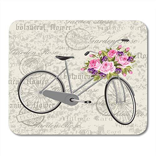 Semtomn Gaming Mouse Pad Bunte schöne graue Fahrradkorb voller Blumen Vintage Green Decor Büro rutschfeste Gummi Backing Mousepad Mouse Mat