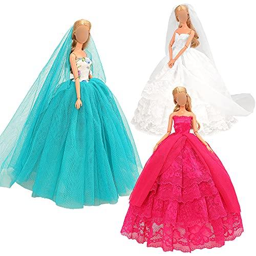 Miunana 3 Abendkleid Prinzessin Kleidung Kleider Dresses für 11,5 Zoll Mädchen Puppen