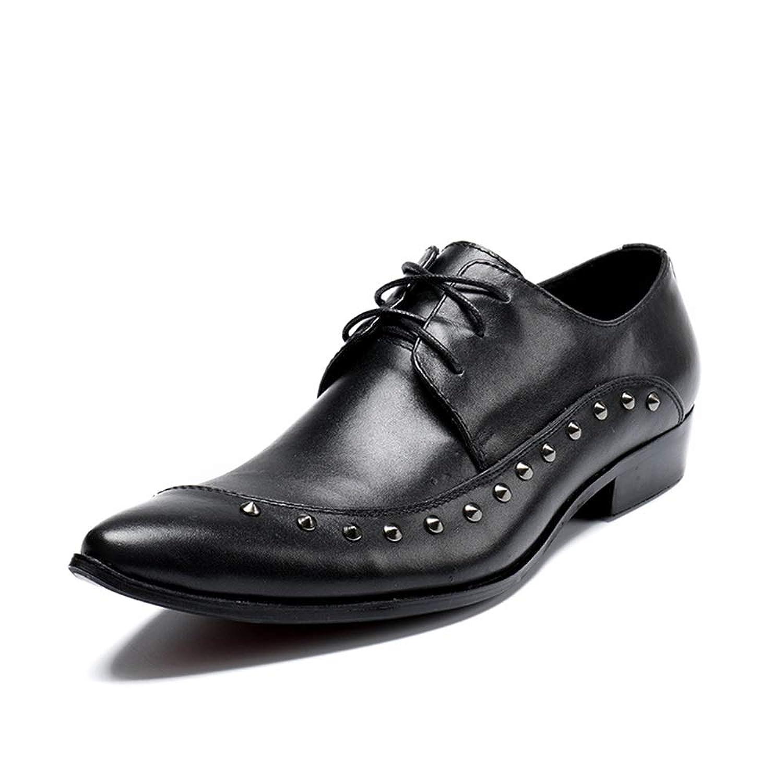 Rui Landed 男性のための古典的な正式なビジネスオックスフォードレースアップ本革ビーガンヴァンプブロックヒールドレスシューズリベットの装飾 (Color : ブラック, サイズ : 24 CM)