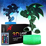 Sonic The Hedgehog Night Light, 2 Pattern 16 Colors Anime Table Lamp with Remote Control Kids Bedroom Decoration, Creative Lighting for Perfect Souvenir Gifts for Christmas and Birthday Gifts