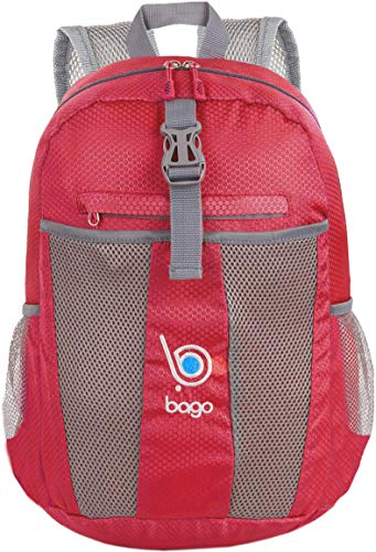 bago 25L Packable Lightweight Backpack - Water Resistant Travel and Hiking Daypack (25-Liter, Red-)