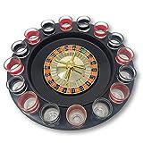 EKNA® Juego de ruleta para beber (juego de ruleta) – Accesorios de fiesta – Ruleta para beber – Ruleta de juego – Disco de ruleta con 2 vasos de chupito
