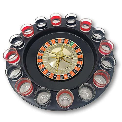 EKNA® Trinkspiele (Roulette Set) Trinkspiel-Roulette - Party Zubehör - Drinking Game Roulette - Roulette Scheibe mit 2X 8 Roulette Schnaps Gläsern