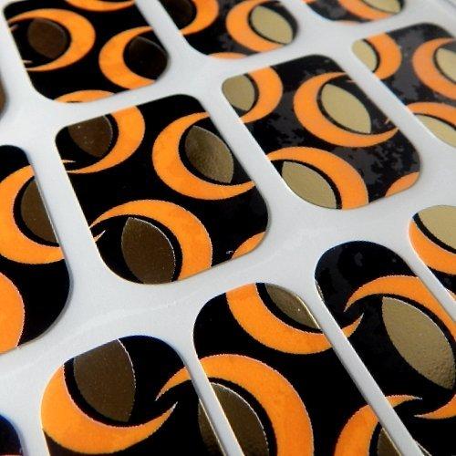 Chix Nails Design Minx Style tendance doigts orteils en vinyle Foils Nail Wraps, Orange et doré lunes