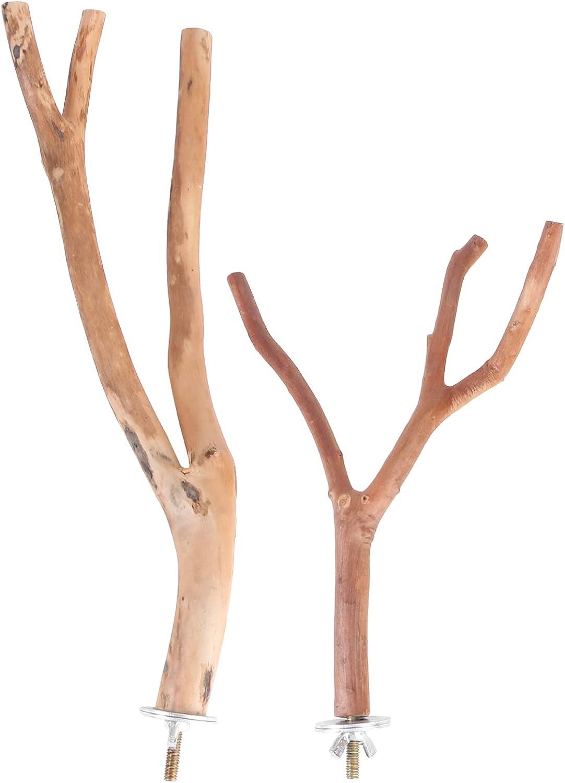 TEHAUX 2PCS Bird Parrot 2021 Perch Parro Cheap bargain Set- Natural Stand Wood