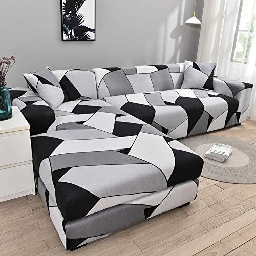 Funda de sofá geométrica Funda de sofá Fundas de sofá elásticas para la Esquina de la Sala de Estar Chaise Longue en Forma de L Sillón Sofá Funda A27 3 plazas