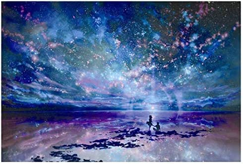 HANDONTIME 1000 Pieces Wooden Jigsaw Puzzles for Adults Kids Night Starry Sky Scenery Landscape product image