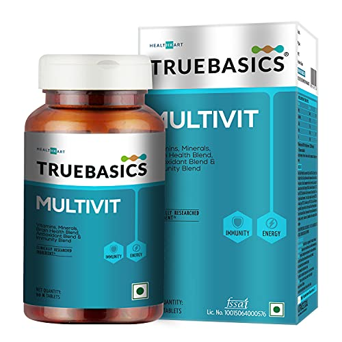 TrueBasics Multivit Daily, Multivitamin For Men and Women, Multivitamin with Zinc, Multiminerals with Vitamin C, D, B12, Immunity and Antioxidant Blend, Clinically Researched Ingredients, 90 Multivitamin Tablets