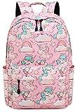 Zaino Sacchetto di scuola delle ragazze Unicorno Simpatico Sacchetto di scuola elementare per bambini medio leggero con custodia per matita (1-Rosa)