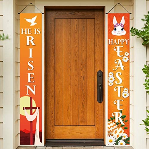 Happy Easter Day Porch Sign Holy Week He is Risen Decoration Hanging Banner for Front Porch product image