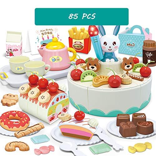 CFO 85 Pcs Pretend corte de la torta del juego, de 2 capas de la torta de cumpleaños del juguete, con luces y música, Frutas y Verduras Cocina Juguetes,adecuado para niños de más de 2 3 4 Años de Edad