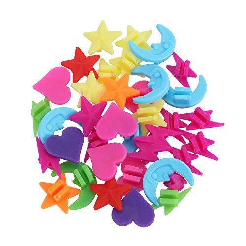 VORCOOL - Juego de accesorios decorativos de colores para radios de bicicleta infantil con formas de estrella, corazón, luna, rayo