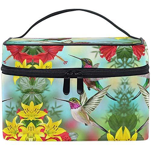 Cosmetic Bag Hummingbirds Flower Tropical Flower Leaves Birds Cosmetic Brush Bag Storage Organizer
