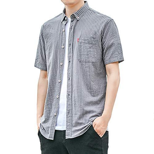 Camisas Informales para Hombres, Camisetas de algodón de Manga Corta, Camisa a Rayas con Botones completos y Bolsillo
