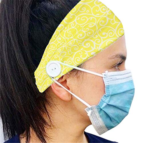 Headband with Buttons for Mask - Nurse Gifts for Women - Ear Savers For Masks (Yellow)