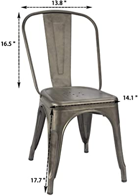 ITORI Metal Indoor-Outdoor Chairs Distressed Style Kitchen Dining Chair Stackable Side Chairs with Back