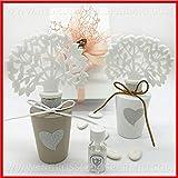 Diffusore d'essenze bianco o tortora con cuore glitter argentato e albero della vita, bomboniere matrimonio, anniversario, completo di scatola regalo (Tortora-con confezione panna)