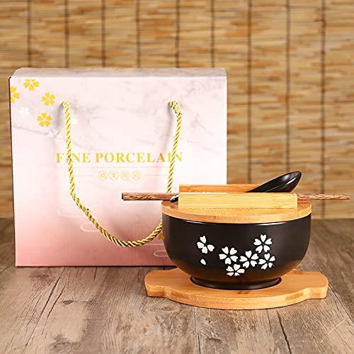 Vajilla Cuencos Platos para pastel Cuenco de fideos de arroz con tapa cuchara y palillos vajilla de cocina cuenco de cerámica para ensaladas y sopa recipiente para alimentos vajilla