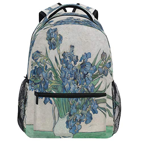 Oarencol Vincent Van Gogh Irises Floral Azul Flor Obras de Arte Mochila Bolsa de Diurna Viaje Senderismo Camping Escuela Bolsa Portátil