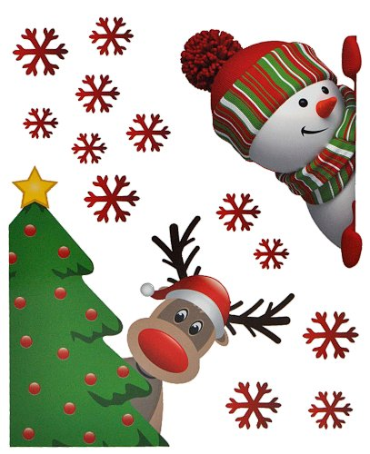 alles-meine.de GmbH 14 TLG. Set Fensterbilder - Rentier Schneemann - Sticker Fenstersticker Aufkleber selbstklebend wiederverwendbar Weihnachten Schneeflocken Fensterbild