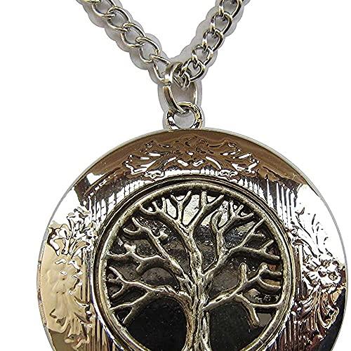 chaosong shop Medallón de plata envejecida para fotos de árbol de la vida, colgante de estilo vintage