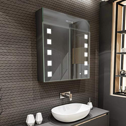Artforma Spiegelschrank mit LED Beleuchtung 2-Türig anpassen (66 x 72 x 16,6 cm) | 17 Dekore | Badschrank | Beleuchtet Badezimmerschrank | LED Farbe und Zubehör zur Auswahl