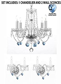 3pc Lighting Set - Crystal Chandelier and 2 Wall Sconces W/Blue Crystal Hearts!