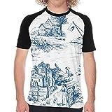 Camiseta de Manga Corta para Hombre,Patrón clásico Escenas de la Aldea de la Ciudad Vieja de Pesca en Toile De Jouy White,Divertidas Imprimir gráfica con Cuello Redondo y diseño Creativo S