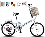 YTDHBLK gtt Bicicleta Plegable Urbana 20 Pulgadas de 7 velocidades Bici Plegable Folding Bike, Sillin Confort, Unisex Adulto/Blanco