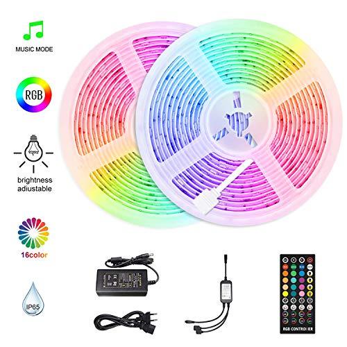 HoMii LED strips 10m - RGB LED-strips synchroniseren met muziek, IP65 waterdichte 300 LED 5050 SMD kleurwissel LED-strip, 40 toetsen afstandsbediening, 16 enkele kleuren