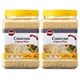 Baron's Plain Traditional Original Couscous Pasta | 100 % Natural Noodles for Salads, Soups, Stews & Side Dishes | Cooks in 6 Minutes! | Kosher | 2 Pack 26.45oz Jars