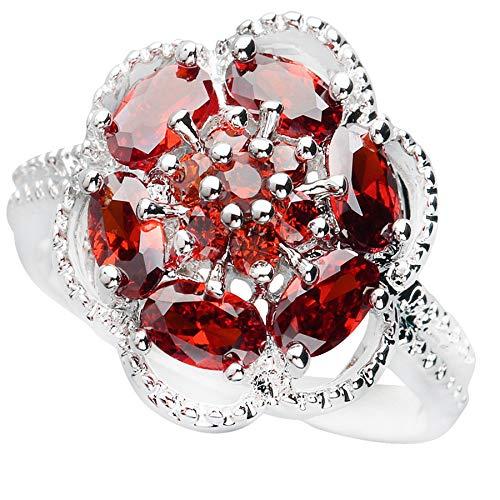 BQZB Anillo Flor Granate Rojo 3 * 5 mm Piedra semipreciosa Anillo de Plata esterlina AiMolies