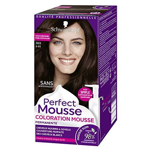 Schwarzkopf - Perfect Mousse - Coloration Mousse Permanente sans Ammoniaque Cheveux - Chocolat Brownie 365