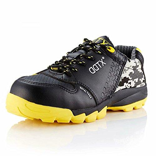 DDTX Calzado de Seguridad Hombre Ligeros con Puntera de Composite Entresuela No Metálica S1P Zapatos Seguridad Trabajo Transpirables Negro Talla 45