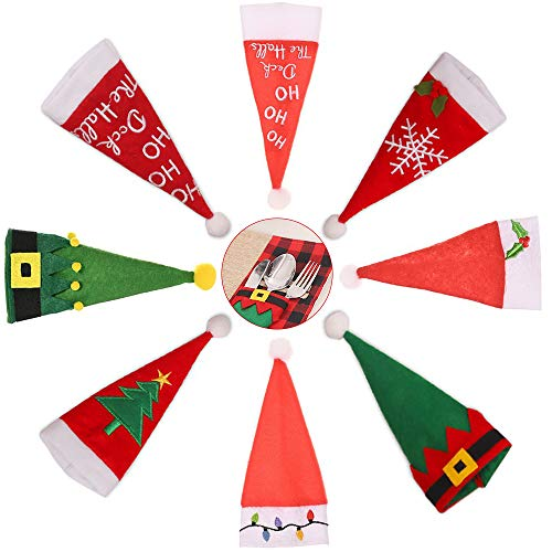 8 Pezzi Porta Stoviglie Natalizie, Cappelli da Babbo Natale Forchette Tasche Borse, Mini Cappello Natalizio Stoviglie, Decorazioni per la Tavola di Natale, Decorazioni per la Tavola da Pranzo