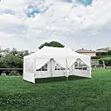 DOIT 10ft x 20ft Outdoor Pop up Canopy Instant Shade Tent Folding Canopy with 6 Removable Side Walls,Party Tent,Portable Wheeled Carrying Bag,White