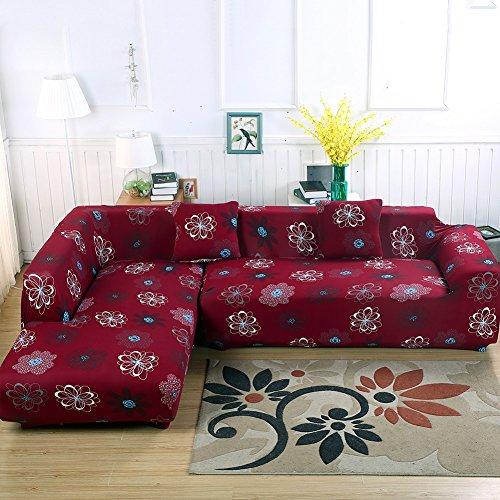 L-Form Sofabezug, Polyester, Strech, 2Stück + 2Kissenbezüge für geteiltes Sofa Rot (Blumen)