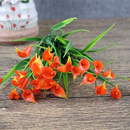 MHHDD Nuevo Hermoso 25 / Bouquet Mini Artificial Calla Lily Leaf Plastic Fake Lily Aquatic Plant Home Room Decoration Flower orange1Bouquet