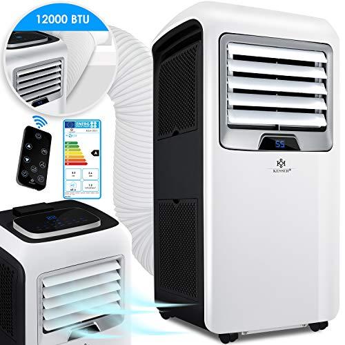 KESSER® - Klimaanlage Mobiles Klimagerät 4in1 kühlen, Luftentfeuchter, lüften, Ventilator - 12.000 BTU/h (3.500 Watt) 3,5 KW Klima + Montagematerial Fernbedienung und Timer Nachtmodus EEK: A Weiß