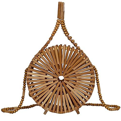 FFHADV С доставкой mini bolsa redonda 2021verano bolso de lujo de las mujeres bolso de hombro hueco de bambú tejido playa bolsa de teléfono móvil cartera (color: caqui, tamaño: 15 cm x 15 cm x 7 cm)