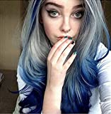 RainaHair 26inches Drag Queen Wigs Sapphire Blue Ombre Gray/Dark Blue Lace Front Wig Body Wave Synthetic Wigs for Women Cosplay Party Festival Daily Wear